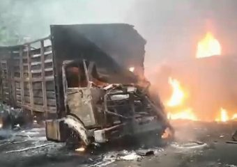 Cameroonian Lives reduced to dust after vehicles catches flames in road accident